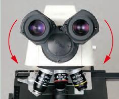 E100观察筒瞳距可向下调节